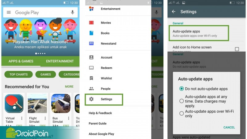 Auto Update Aplikasi Google Play Store