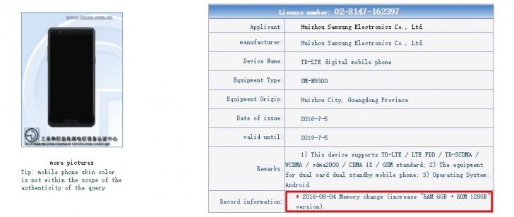 Samsung Galaxy Note 7 6GB RAM