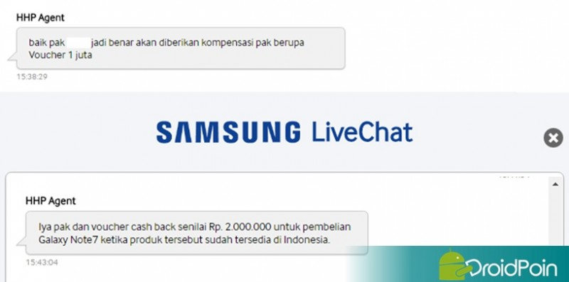 Kompensasi Galaxy Note 7 Indonesia