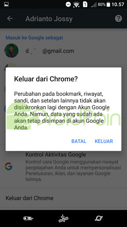 Cara Sign Out dari Chrome (Android)