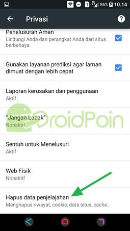 Menghapus Histori di Chrome Android
