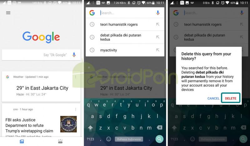 Cara Menghapus Histori Pencarian Google Di Android Droidpoin