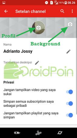 Mengganti Gambar (Profil dan Background) Akun YouTube via Aplikasi YouTube Android