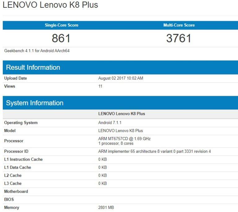 Lenovo K8 Plus 'Nongol' di GeekBench