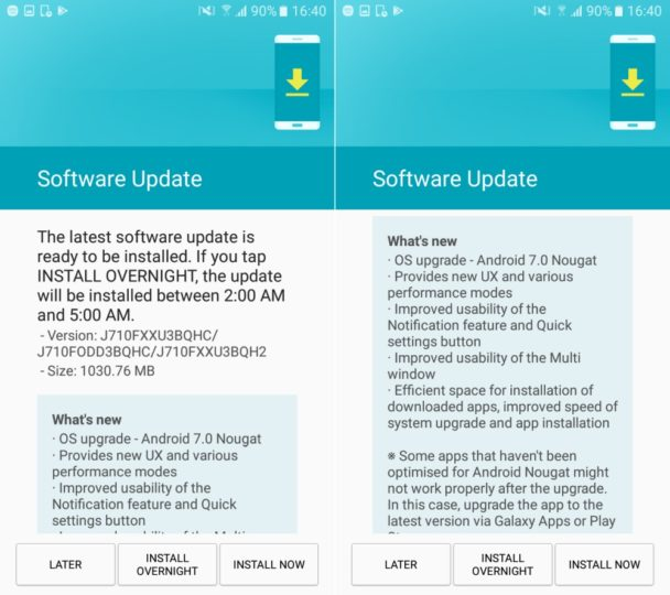Update Nougat untuk Galaxy J7 (2016) Mulai Digulirkan
